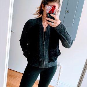 Quinn Cashmere lightweight paneled bomber sweater